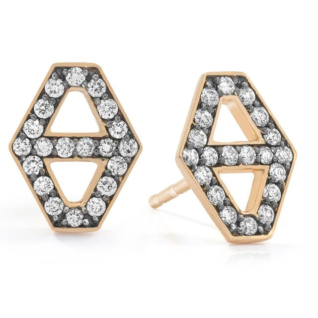Swoonery-Keynes Small Diamond Hexagon Stud Earring