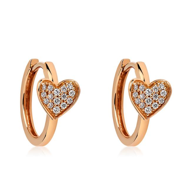 Swoonery-Rose Gold Heart Earrings