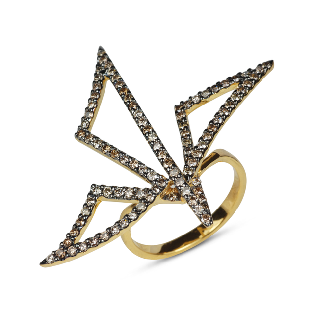 Swoonery-Yellow Gold Origami Silhouette II Ring