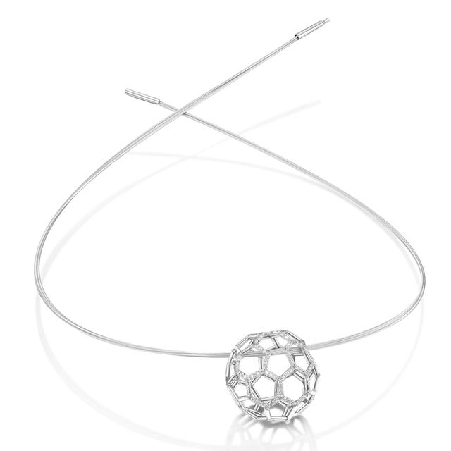Swoonery-Air Sphere Diamond White Gold Necklet