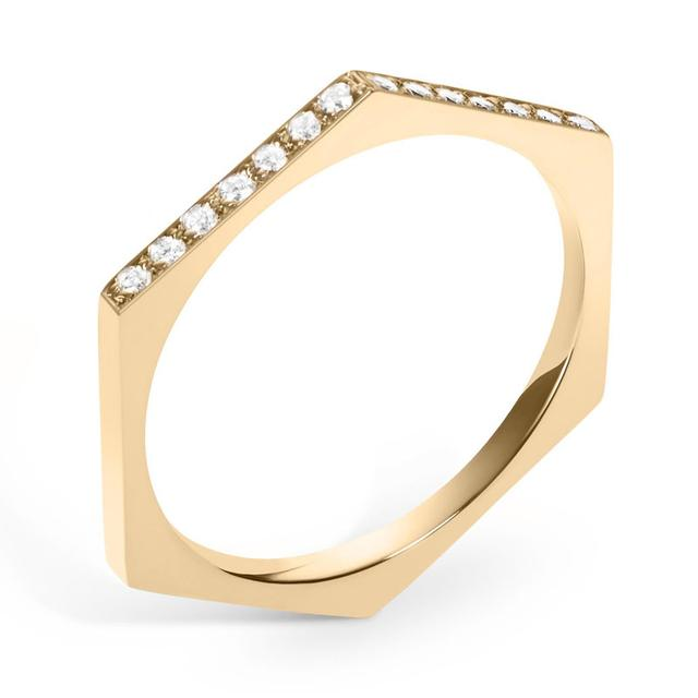 Swoonery-White Diamond Hex Band