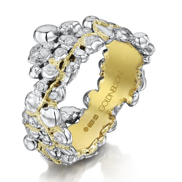 Swoonery-Coalescence Diamond Bi Gold Band