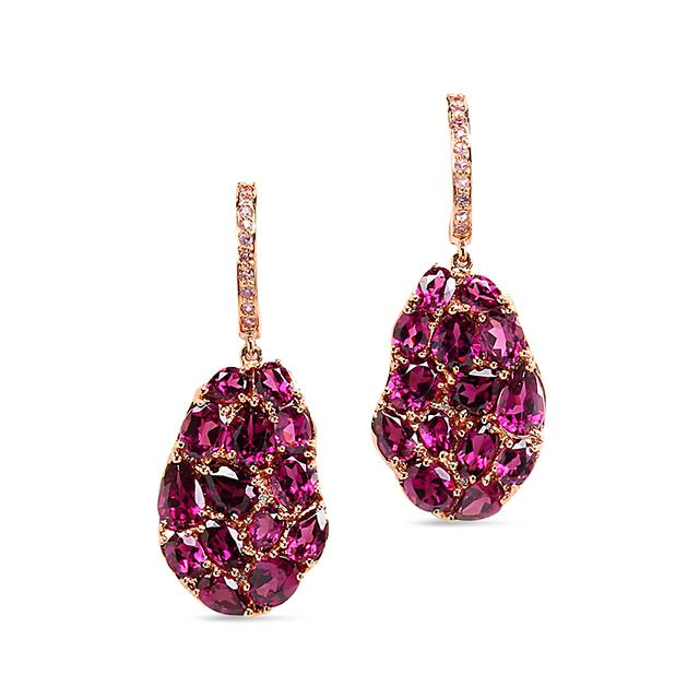 Swoonery-Wavy Rhodolite Garnet Drop Earrings