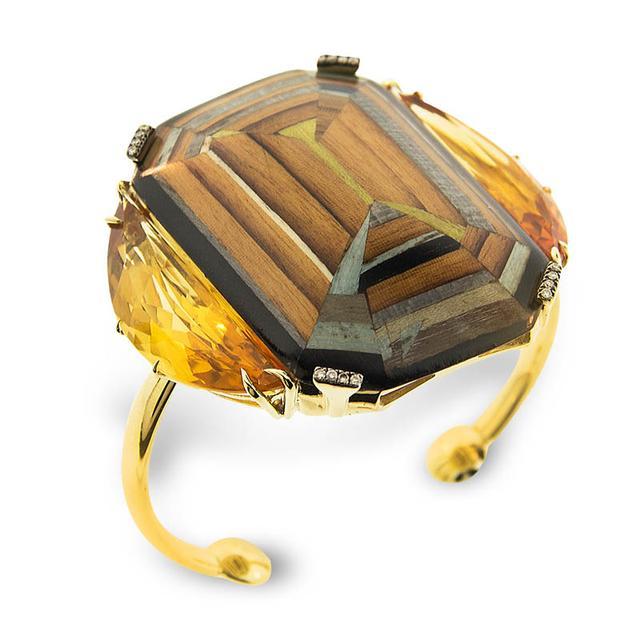Swoonery-Marquetry Geometric Yellow Wood Bracelet