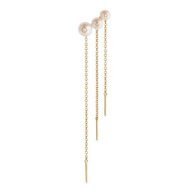 Swoonery-Menage a trois pearl chain earring
