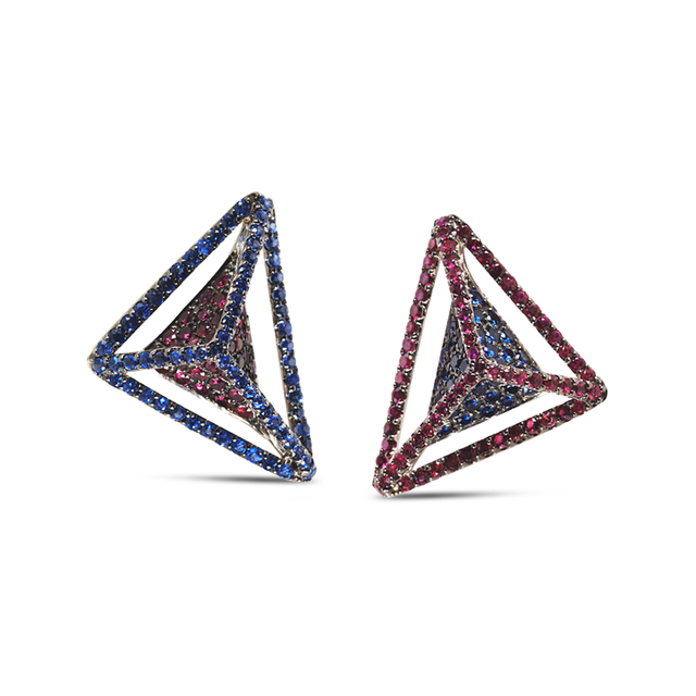 Swoonery-Reverse GeoArt Ruby and Blue Sapphire Earrings