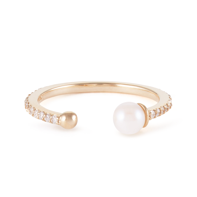 Swoonery-Open Midi Pearl Ring