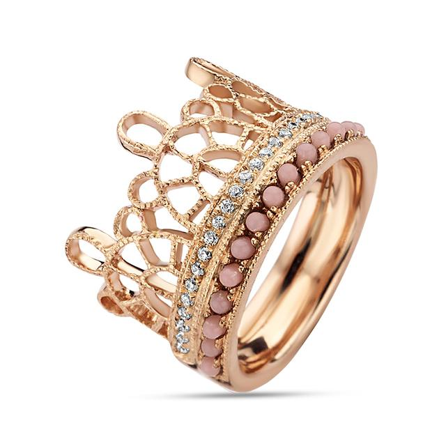 Swoonery-Rose Gold-Plated Lace Ring