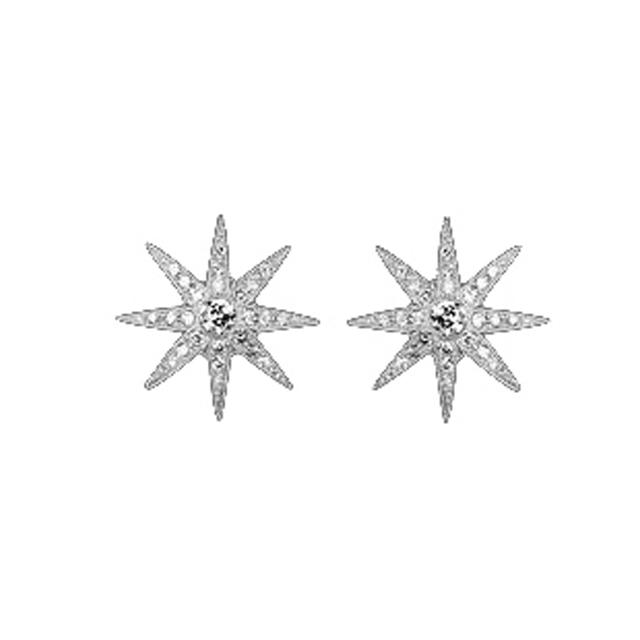Swoonery-White Gold Twinkle Stud Earrings