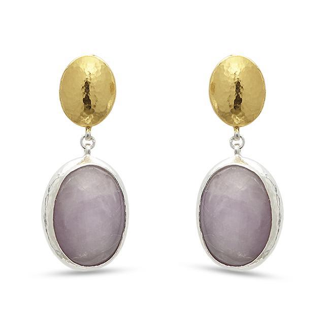 Swoonery-Galapagos Kunzite Drop Sterling Silver Earrings