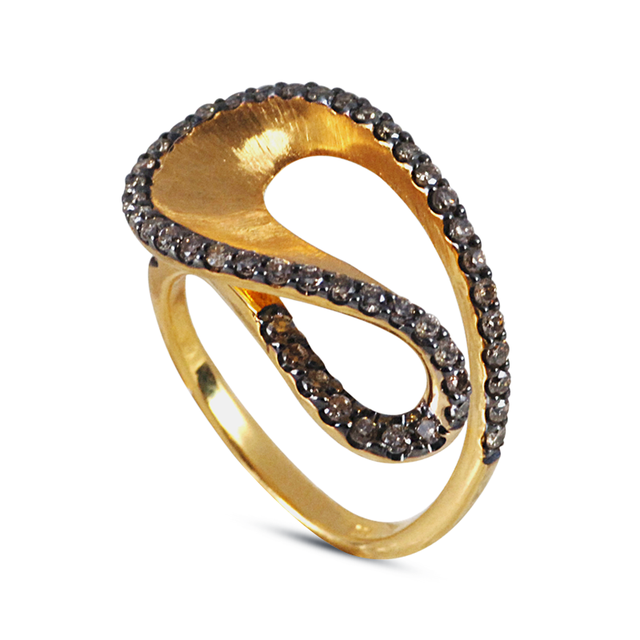 Swoonery-Yellow Gold Wave Brown Diamond Ring