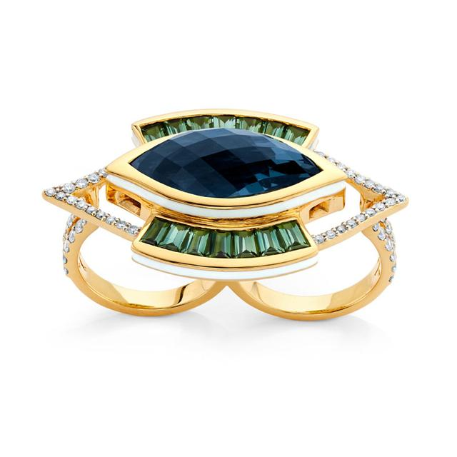 Swoonery-20K Lantern Evil Eye Double Finger Ring