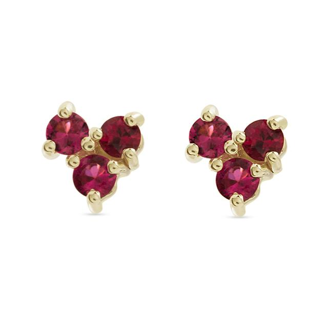 Swoonery-Tri Red Spinel Stud Earring