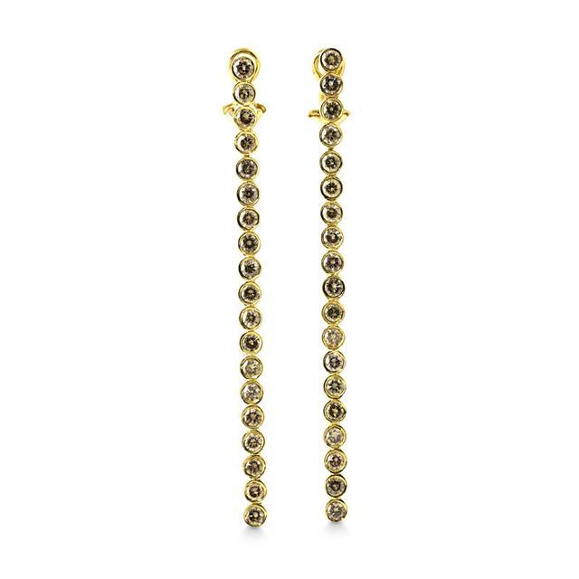 Swoonery-White Diamond Line Earrings