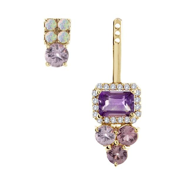 Swoonery-Australian Opal, Lavender Sapphire And Amethyst Stud And Ear Jacket