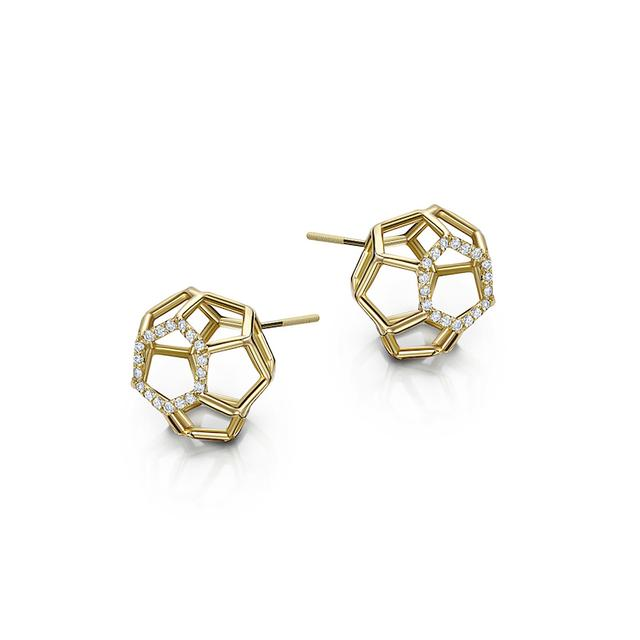 Swoonery-Air Sphere Yellow Gold Earrings