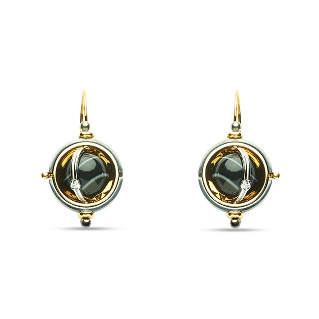 Swoonery-Silver Onyx Pluton Fishhook Earrings