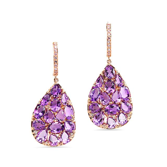 Swoonery-Amethyst Drop Earrings