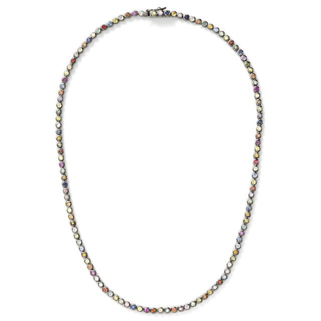 Swoonery-Rainbow Sapphire Tennis Necklace