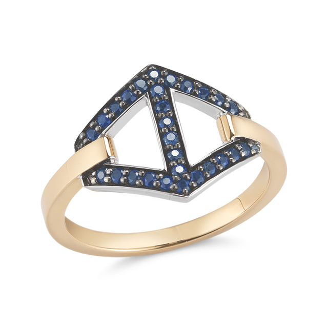 Swoonery-KEYNES SIGNATURE MEDIUM SAPPHIRE HEXAGON MOTIF RING