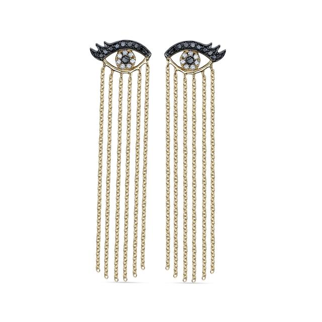 Swoonery-Long Fringe Eyelash Evil Eye Earrings