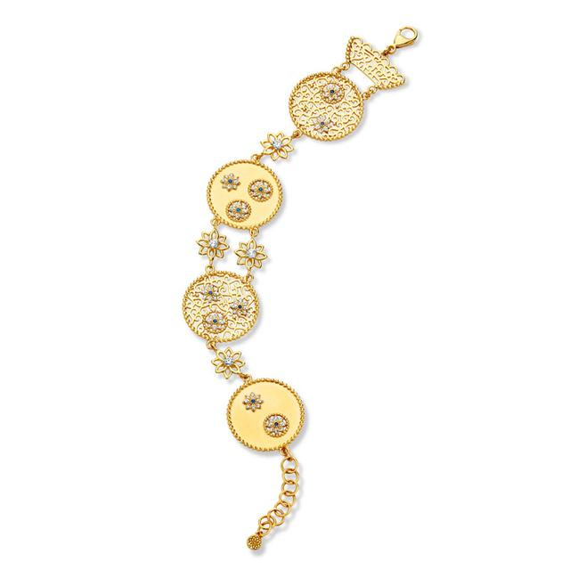 Swoonery-20K Flower Disc Toggle Bracelet