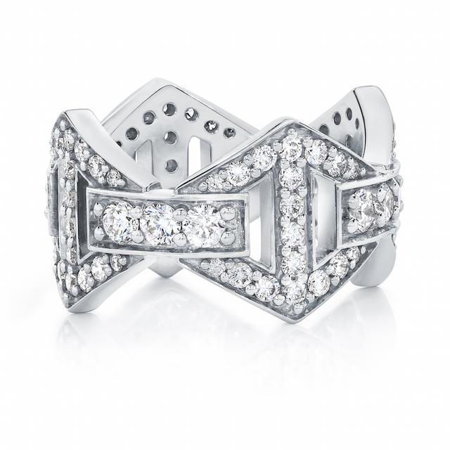 Swoonery-Keynes Large All Diamond Hexagon Ring