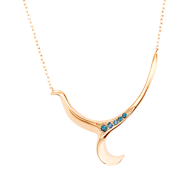 Swoonery-Rose Gold Severin Blue Diamond Pendant