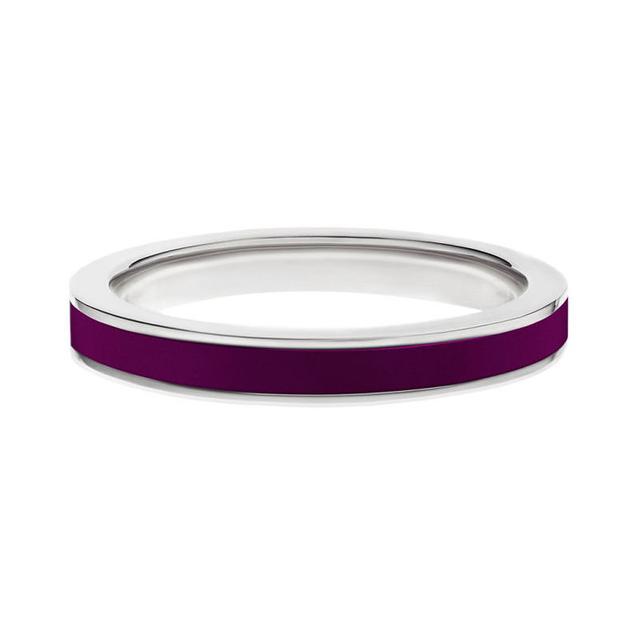 Swoonery-White gold purple enamel stack band