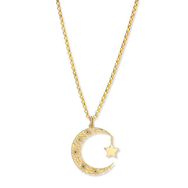 Swoonery-20K Star And Crescent Pendant