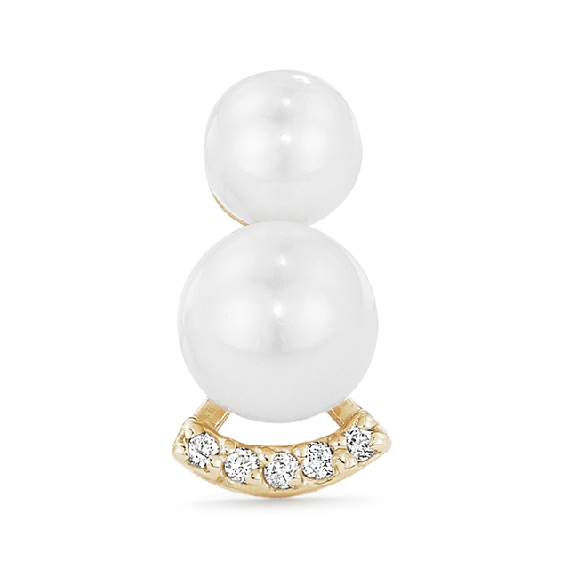 Swoonery-Double Akoya Pearl Single Stud
