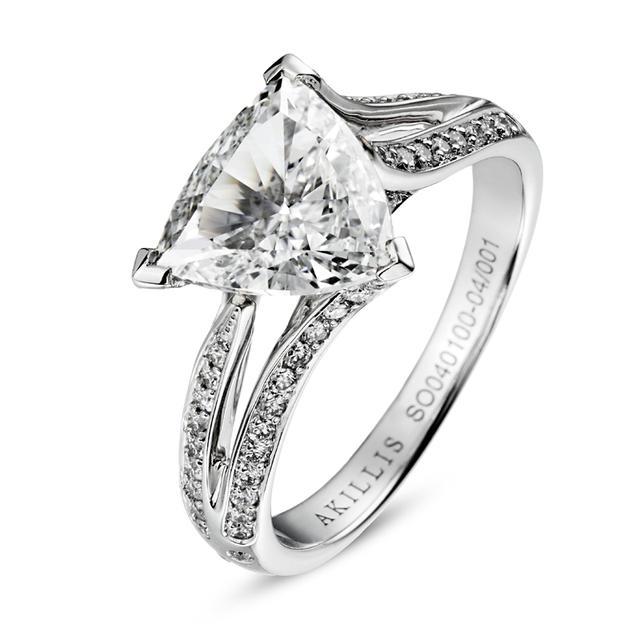 Swoonery-White Gold White Diamond Bridal Engagement Ring