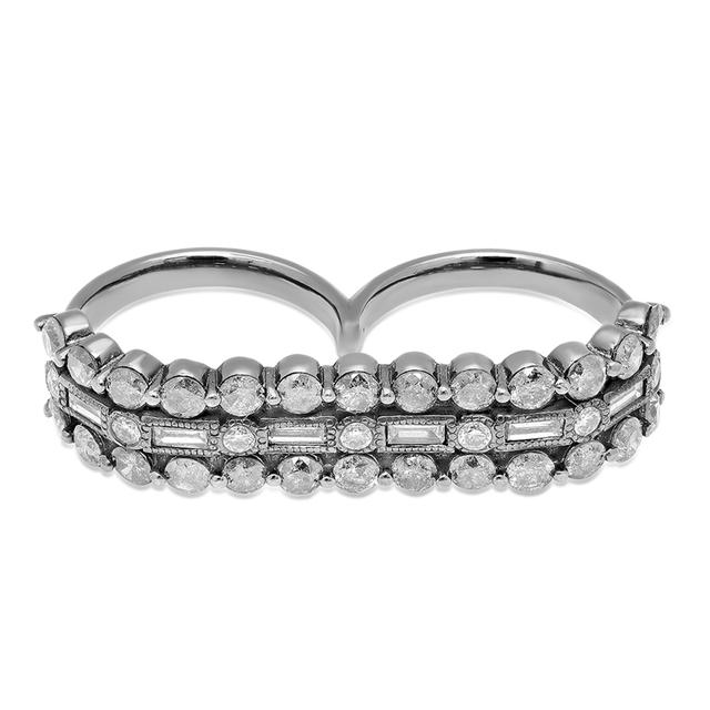 Swoonery-White Gold Double Finger 3D Ring