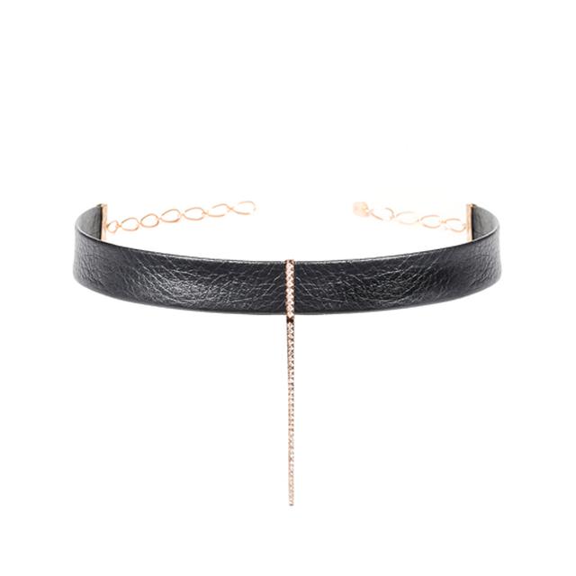 Swoonery-Diamond Bar Leather Choker