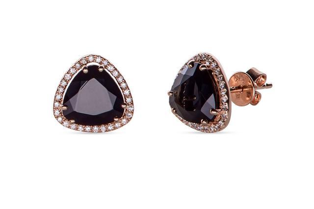 Swoonery-Diamond Stone Slice Studs  Onyx
