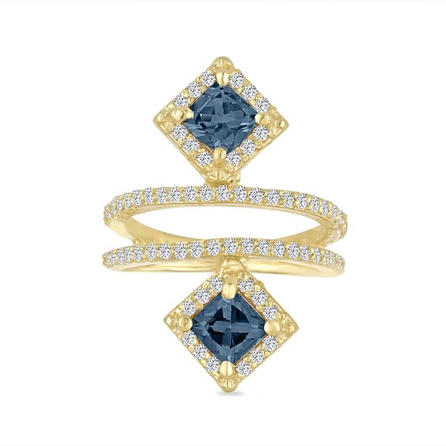 Swoonery-2 Squares Double Diamond Bar Ring