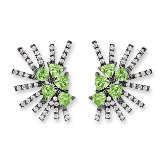 Swoonery-Parrot Mini earrings - Tzavorite Black Rhodium