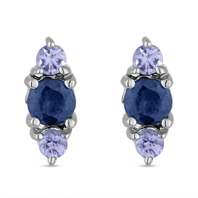 Swoonery-Sapphire And Tanzanite Stud Earring