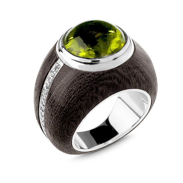 Swoonery-Chrysolite Ebony Ring