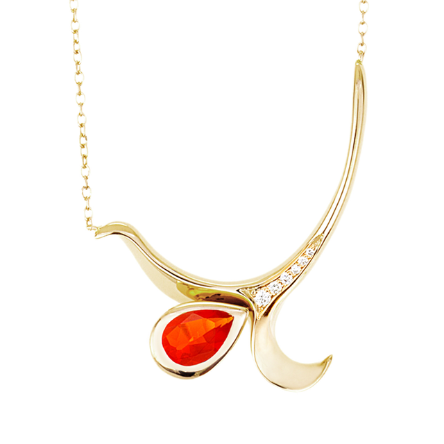 Swoonery-Yellow Gold Severin Diamond & Fire Opal Pendant