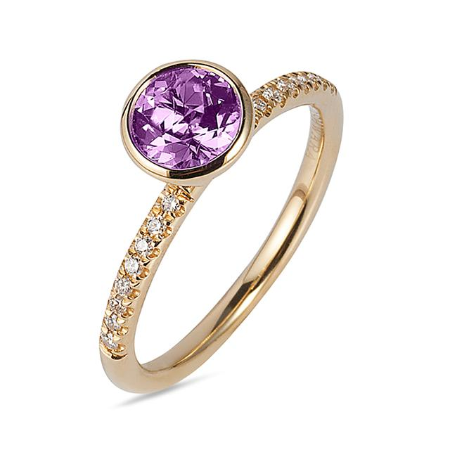 Swoonery-Gossip Collection Round Stackable Ring With Amethyst