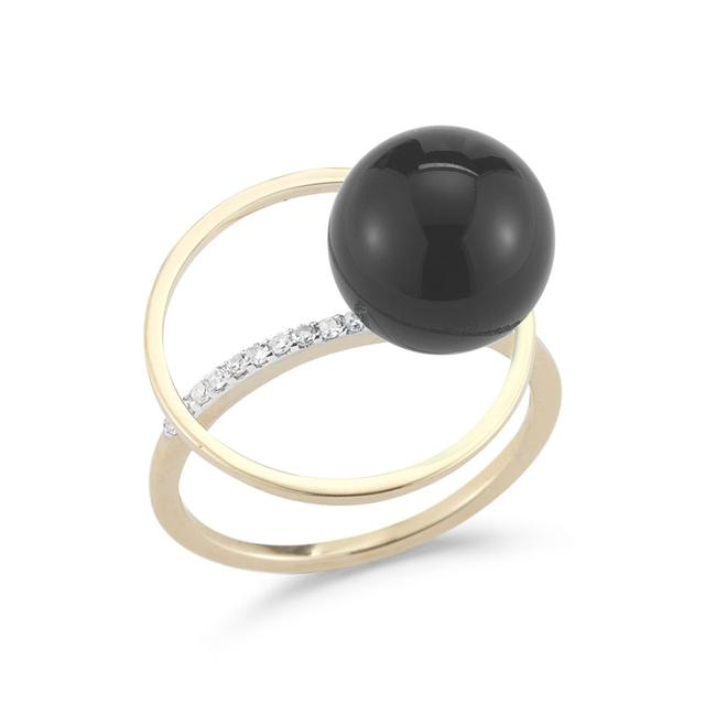 Swoonery-Onyx Orbit Ring with Diamonds