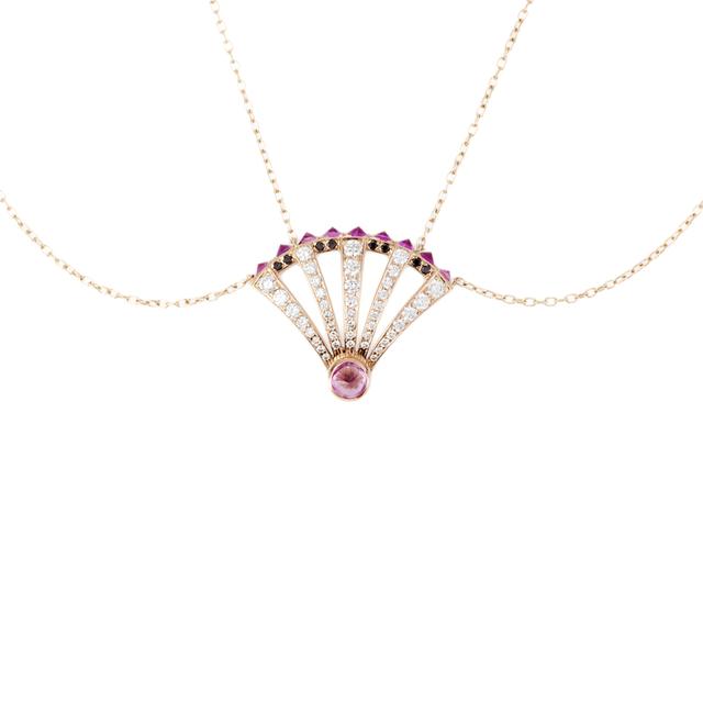 Swoonery-Pink Sapphire Sumerian Spike Diamond Pendant