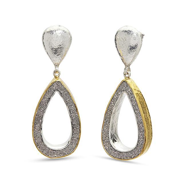 Swoonery-Mystere Open Pear Drusy Drop Sterling Silver Post Earrings