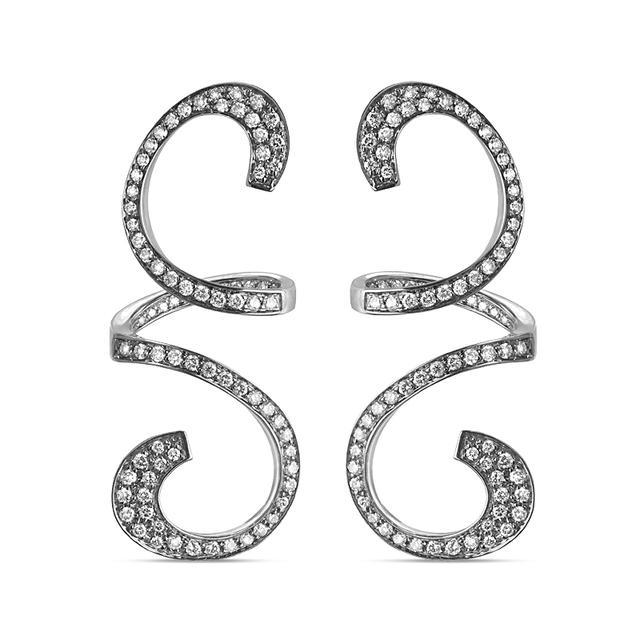 Swoonery-Black Rhodium Gold Curls Pendant Earrings
