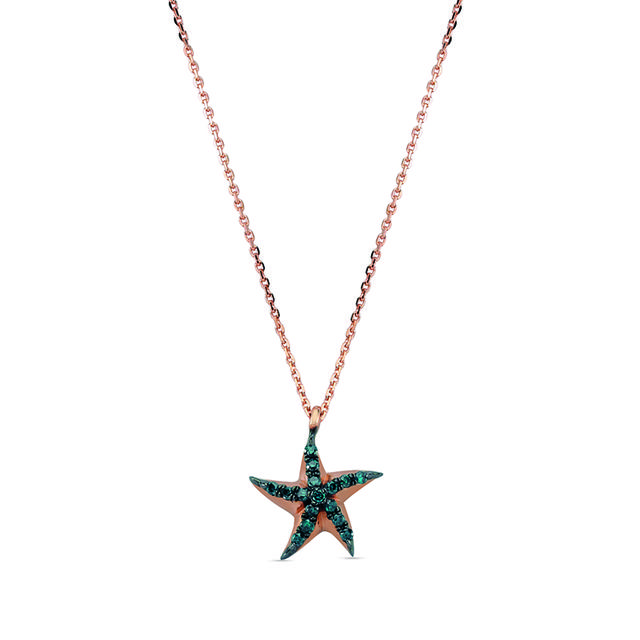 Swoonery-Aqua Light Starfish Necklace with Blue Diamond Accents