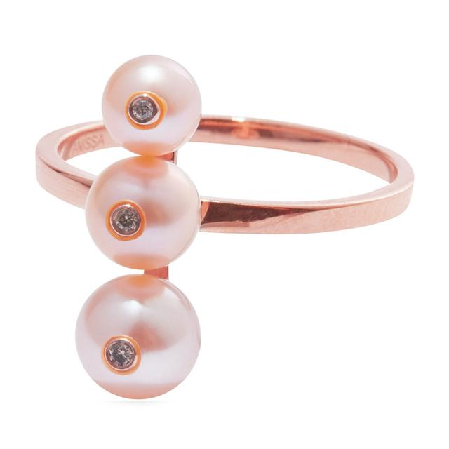 Swoonery-Menage a trois pink pearl ring