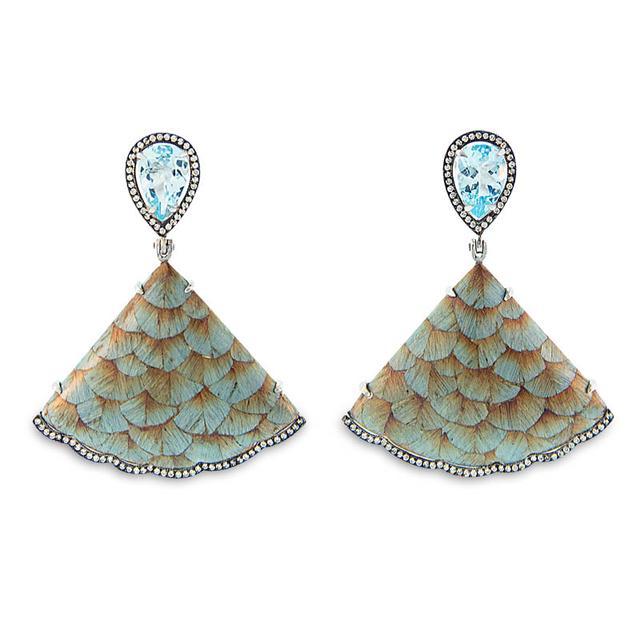 Swoonery-Marquetry Carvalho Azulado Blue Earrings