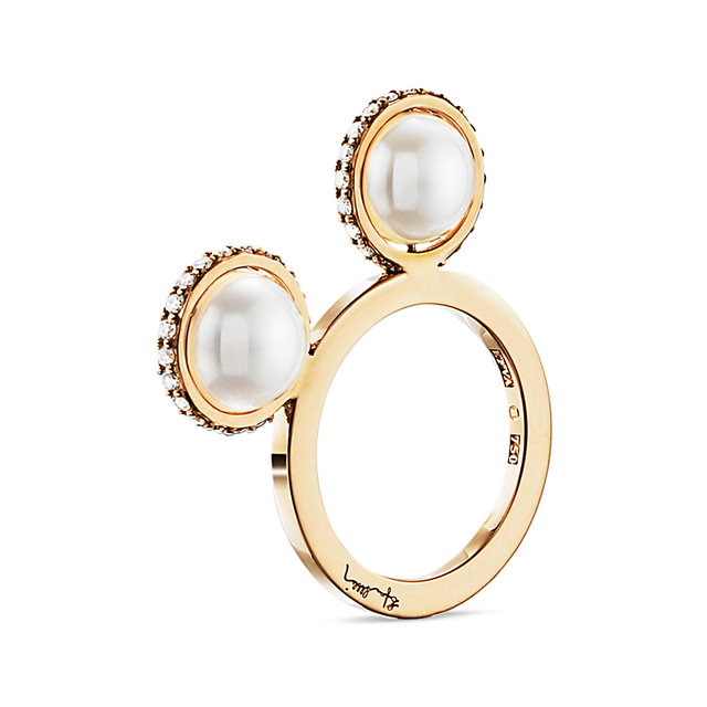 Swoonery-Double Day Pearl & Stars Ring