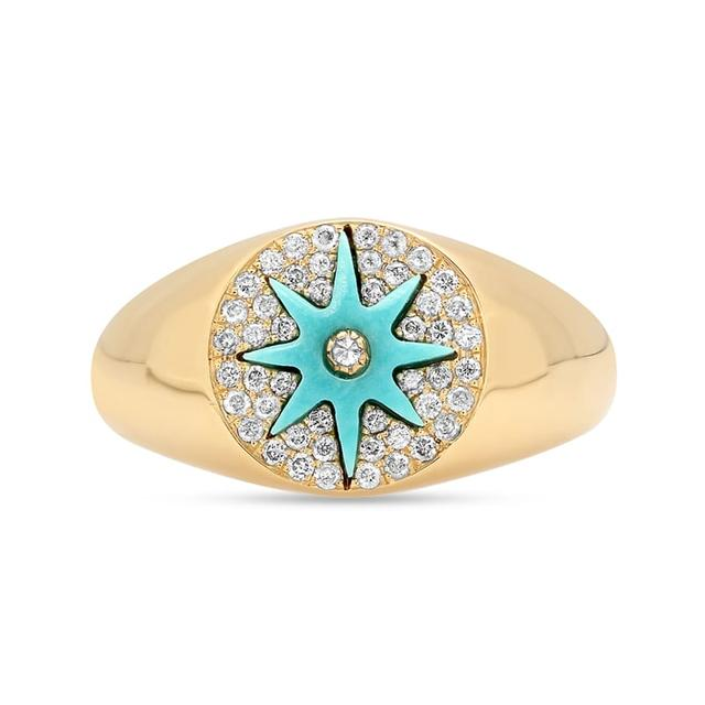 Swoonery-Star Signet Turquoise Ring